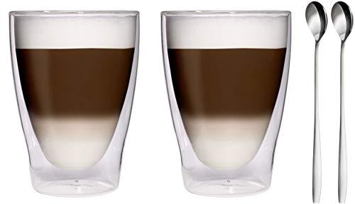 Feelino Dubbelwandige thermoglazen van 280 ml, 2 x roestvrij stalen lepels, latte macchiato-glazen, edele thermoglazen met zweefeffect