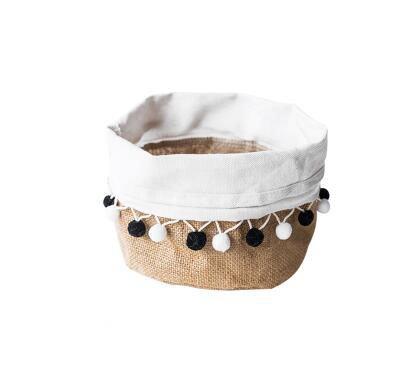 Hihouse Seau Organiseur de Stockage de Bureau Box Mignon Multifonction Tissu Lin Sac de Rangement Pot Multi-Purpose á l'eau Vase Pot de Fleurs Couverture Noir Blanc