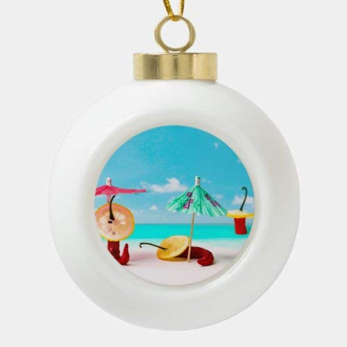 McC538arthy Holiday Xmas Tree Ornament/Chili Peppers by The Sea Ceramic Ball Christmas Ornament/Merry Christmas Ornaments Gift