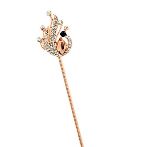 Elégant rétro paon Femmes Filles strass Stick Cheveux Rose