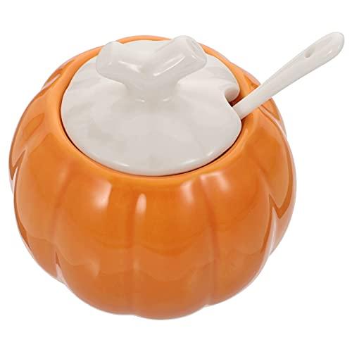 Hemoton Ceramica di Zucca a Forma di Ciotola di Zucchero Condimento Pentola con Il Cucchiaio E Coperchio Zuppa O Da Dessert Ciotola di Halloween Del Partito Accento Arancione