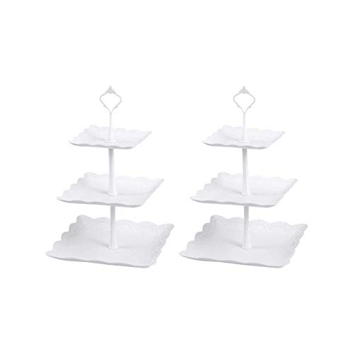 YuuHeeER Soporte cuadrado de plástico de cerámica de imitación de 3 niveles para tartas de fiesta, 2 unidades