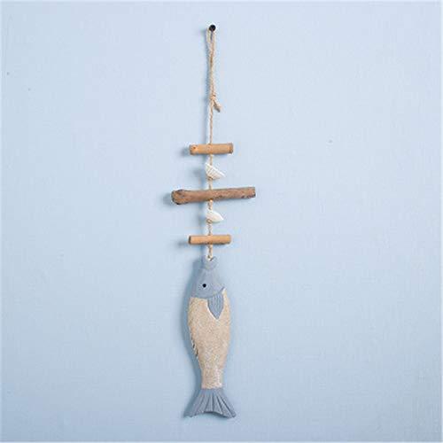 Phosphor Fisch-Anhänger aus Holz mit Muschel-Motiv, Dekoration, Fischnetz-Hintergrund, Dekoration, Anhänger, dreifarbiger Fischschnur-Anhänger.