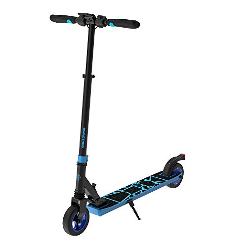 Swagtron Swagger 8 Folding Electric Scooter for Kids & Teens | Lightweight E-Scooter w/Kick-to-Start, Cruise Control | Adjustable Stem, Suspension, Quiet Motor (IPX4) (Blue), One Size (SG-8)