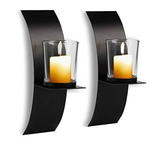 VOSAREA Wandleuchte Kerzenhalter Metall Wandkunst Säule Kerze Bogenförmiger Kerzenhalter Kerzenhalter Dekorative Rustikale Kerzenhalter