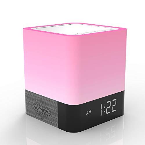 Sophesc Bluetooth-Lautsprecher Wecker – 5-in-1 Nachtlicht und Freisprechen mit Mikrofon – dimmbar RGB Farbwechsel LED-Nachtlicht – (48 Farbspektrum)