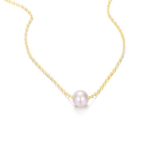 Fashionable women's pearl necklace, stainless steel, gold-plated.