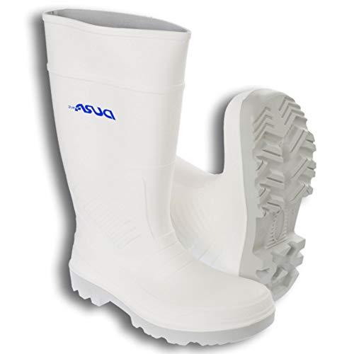 TronicXL Profi PU Gummi Stiefel mit Stahlkappe Stahlkappenstiefel Arbeitsstiefel Sicherheitsschuhe S4 Polyurethan Gummistiefel Schuhe Damen Herren Langschaft Unisex Arbeitsstiefel Schuhe (45 EU, weiß)
