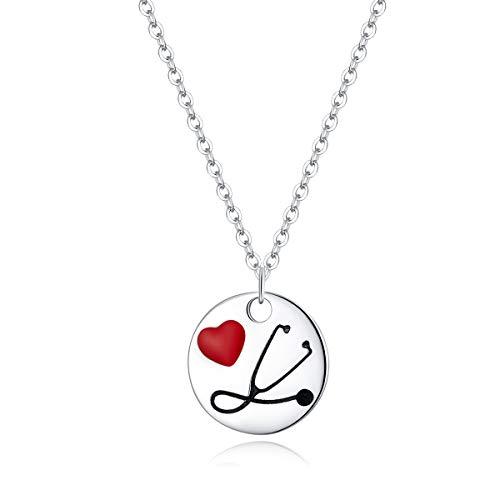 Collar colgante de plata esterlina 925 doctor estetoscopio para corazón monedas collares...
