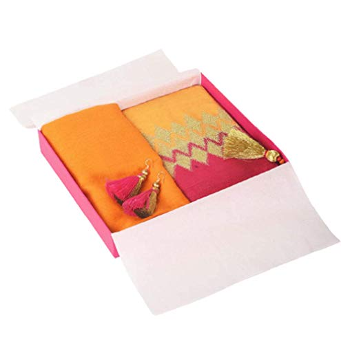 VLiving 3 PIECE GIFT PACK fine wool scarf with a silk clutch and twin threader earrings, gift for women
