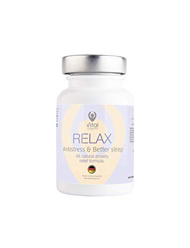 Vital Concept Relax - Wirksame Beruhigungs Tabletten für Geist und Muskeln. Mit Vitamin B und Magnesium. Unterstützt Serotonin, Glückshormon. 60 Kapseln, 30 Tage