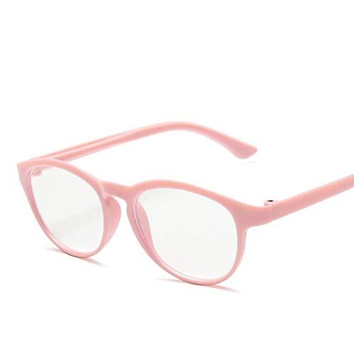 XCHJY Anti Blaues Licht Blocking Runde Brille Kinder Anti Glare Kinder Brillen Mädchen-Junge-optische Rahmen Klare Linsen UV400 (Frame Color : Pink Clear)