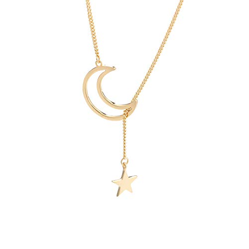 TATA Sterling Silver Moon Star Necklace S925 Gold Plated Crescent Y Lariat Necklace