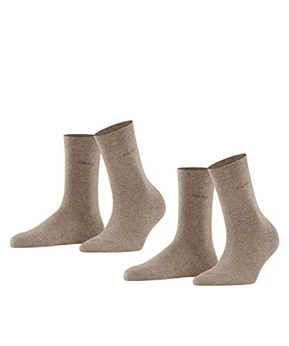 ESPRIT Damen Basic Easy 2-Pack W SO Hausschuh-Socken, Blickdicht, Braun (Nutmeg Melange 5410), 39-42 (2er Pack)