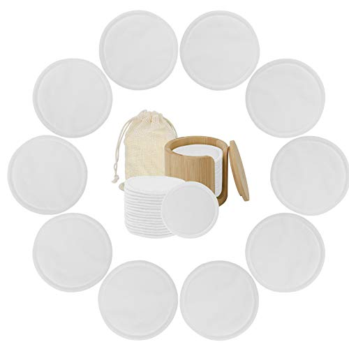 MOTZU 20 Pack Reusable Cotton Rounds,Soft Makeup Remover Pads Washable Facial Cleansing Cotton Pads with Laundry Bag & Bamboo Holder,Eco Friendly Cosmetics Removal Facial Wash Wipes Zero Waste-White