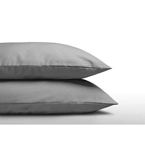 SLEEP TIME 2er Set Kissenbezüge 60cm x 70cm Grau, Kissenbezug 60x70, Baumwolle, Grau