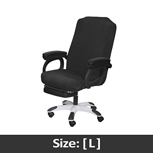 SARAFLORA Office Chair Covers Stretch Washable Computer Chair Slipcovers for Universal Rotating Boss Chair Large Size, Black chair Dining Features Kitchen Slipcovers