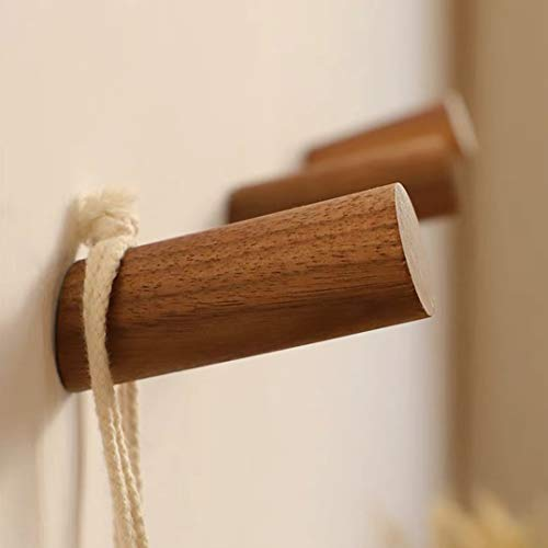 HomeDo木製フックねじおしゃれウォールフック壁掛けフック洋服掛けウォールハンガー帽子掛け帽子収納装飾壁掛けフックタオルハンガー4個セット(ウォルナット,10cm)