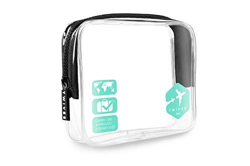 TWIVEE - Kulturbeutel Transparent - 1 Liter - Handgepäck Flüssigkeiten - Türkis - Unisex