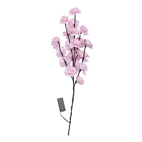 Mobestech Beleuchtete Blumen Zweig Diy Handwerk Led Rose Blume Lampe Elektrische Blume Zweig für Valentinstag Hochzeit (Ohne Batterie)