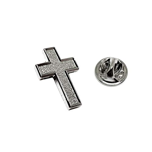 Chaplain Silver Finish Cross Lapel Pin - Religious Christian Latin Ornate Official Brooch (Silver)