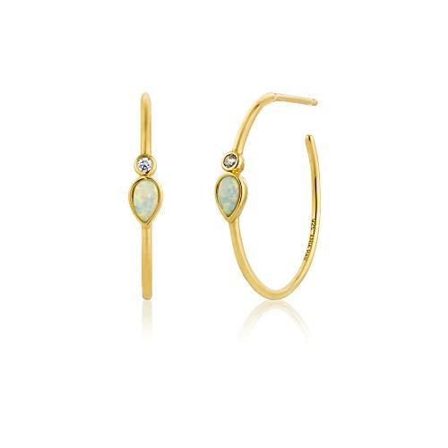 Ania Haie 925 Sterling Zilver Grote Dunne Opaal Kleur Hoop Oorbellen, 14k Goud verguld