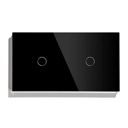 YOBAIH 2 Gang 1 Way Wall Touch Interruptor táctil 157 mm Interruptor de luz Blanco Negro Negro Clase de Cristal de Oro 3 Colores Sensor Interruptor Conmutador (Color : Black, Standard : 1)