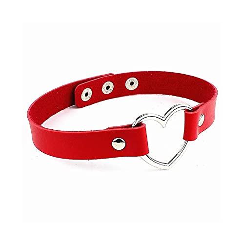 Collar de Gargantilla de Cuero Femenino para Mujer corazón de Cuello Collares Collar de declaración de joyería Punk Regalo de Novia de Boda (Color : Red)