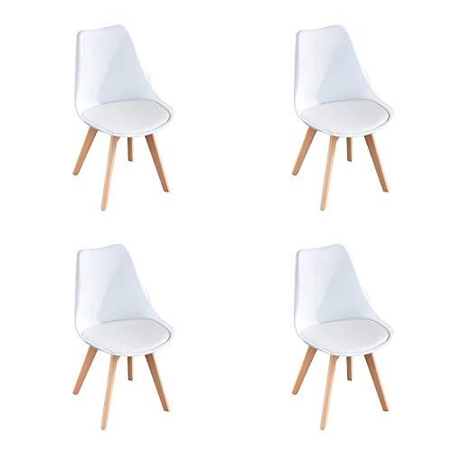 Comfortableplus 4er Set Esszimmerstühle mit Massivholz Buche Bein, Retro Design Gepolsterter lStuhl Küchenstuhl Holz,Weiß