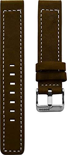 Oozoo Armband Uhrenband Uhrenarmband Leder Lederband mit Dornschließe Dunkelbraun - 30 mm