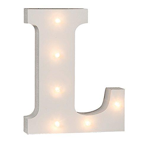 schenken-24 Beleuchtete Buchstaben (A - Z) mit LED-Birnchen, weiß, ca. 16 cm Höhe, Buchstaben:L