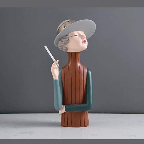 Europa-typ Bokhyllan Hushållens roll som smak smakas Tecknad karaktärer Dekoration Skulptur Modell Presentprydnader-Modern tjej - bli grön