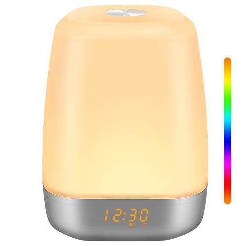 StillCool Lichtwecker Wake-Up licht mit Sonnenaufgangfunktion Touch Sensor Led Tageslichtwecker Nachtlicht 256 Auto Farben,USB - Kabel,5 Natürliche Wecktöne für Haus,Schlafzimmer,Geschenk