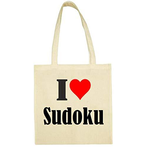 Tasche I Love Sudoku Größe 38x42 Farbe Natur Druck Schwarz