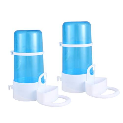 Vulcasa - Botella de agua para hámster y comedero automático para animales de compañía y dispensador de comida para pequeños animales, cerdo, pavo, conejo, pájaro y mini erizo (2 unidades)