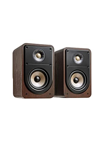 Polk Signature Elite ES15 Bookshelf Speaker - Hi-Res Audio Certified, Dolby Atmos & DTS:X Compatible, 1' Tweeter & 5.25' Woofer, Power Port Technology for Effortless Bass (Pair, Contemporary Walnut)