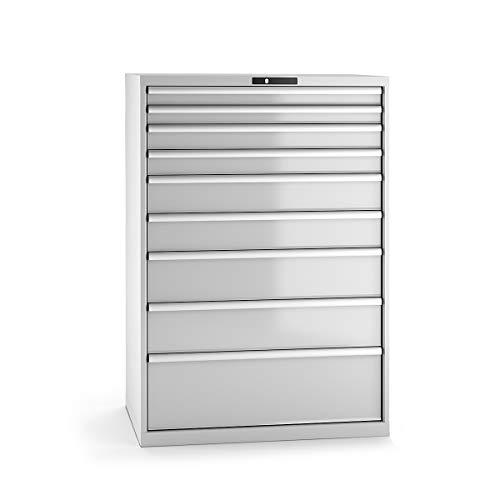 LISTA Schubladenschrank, Traglast/Schubl. 75 kg, 9 Schubl. 2x75, 2x100, 2x150, 2x200, 1x300 mm,...