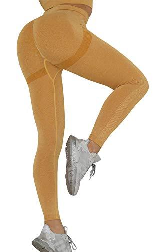 CMTOP Leggings Mujer Pantalones de Yoga Elásticos Push Up Deporte Cintura Alta Mallas Pantalones Deportivos Leggins con Control de Abdomen para Running Fitness Yoga y Pilates(Amarillo,S)