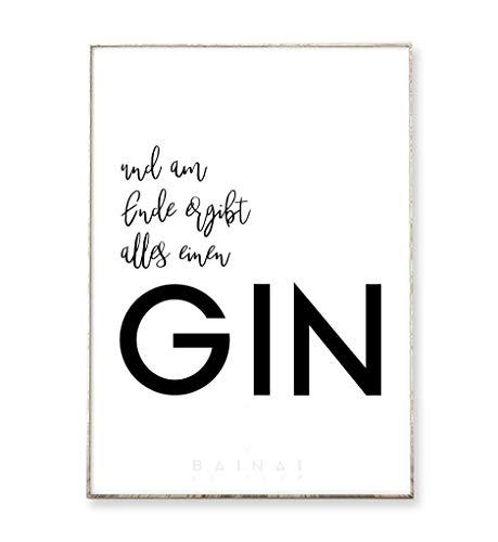 Kunstdruck Poster Bild GIN°2 -ungerahmt- Typografie Dekoration Spruch Gin