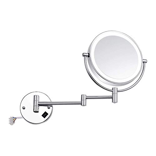 XYSQWZ Makeup Mirror Wall Mount Lighted 8 Inches Two-sided 3x Magnified Premium Modern Led (color : Silver Size : 8 Inches 3x)