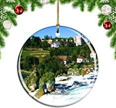 Kysd43Mill Swiss Rhine Falls Zurich Árbol de Navidad Decoración para Colgar Ornamentos, Adornos de Navidad de cerámica, Decoraciones de Navidad