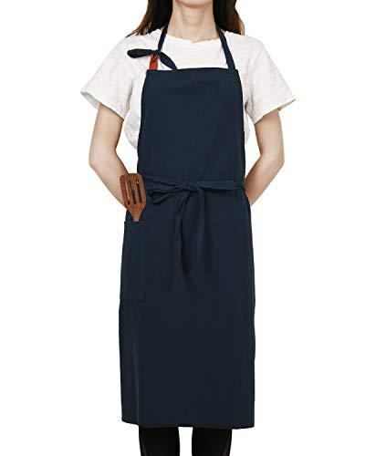 JSDing Kochschürze Damen 100% Baumwolle Schürze mit Große Tasche Küchenschürze Groß Verstellbarem Nackenband Latzschürze Arbeitsschürze für Garten Home BBQ Cafe Backen
