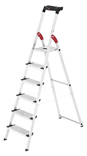 Hailo XXL Escalera taburete Aluminio, Negro, Rojo - Escalera de mano (3,05 m, 150 kg, 6,7 kg, 13 cm)