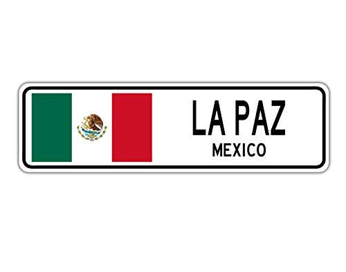 TND New La Paz Mexiko Straßenschild mexikanische Flagge Stadt Land Straße Wand Straßenschild 10,2 x 40,6 cm
