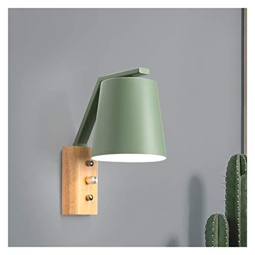 Lámpara de pared Lámpara de pared nórdica MODERNA SIMPLICIDAD E27 LED de madera y hierro Color Sconence Luz para dormitorio Living Room Living Aisle Apliques de Pared