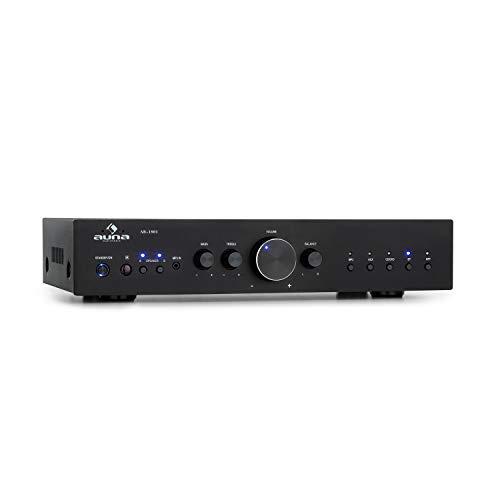 auna AV2-CD608BT HiFi-StereoVerstärker, Ausgangsleistung: 4 x 100 Watt RMS, Bluetooth, Eingänge: 1 x Digital Optisch / 4 x Stereo-RCA, Infrarotfernbedienung, Frontplatte aus Aluminium, schwarz