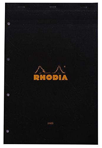 Rhodia 206009C notitieblok (DIN A4, 21 x 29,7 cm, microgeperforeerd, gelinieerd met rand, 80 vellen) 1 stuk zwart