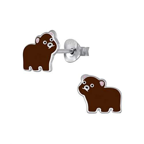 Laimons - Pendientes infantiles para niña, con osito de peluche, color marrón, 8 mm, de plata de ley 925