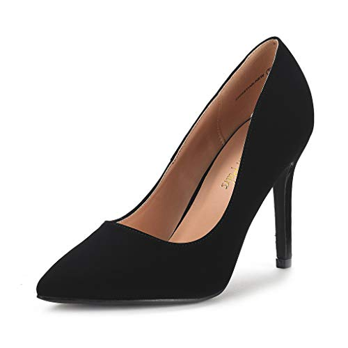 DREAM PAIRS Women's Black Suede High Heel Pump Shoes - 5.5 M US