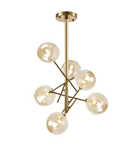 Dellemade 6-Licht Sputnik Kronleuchter, Globus Pendelleuchte für Esszimmer, Wohnzimmer, Küche, Büro, Café, Restaurant,LED Glühbirnen Enthalten